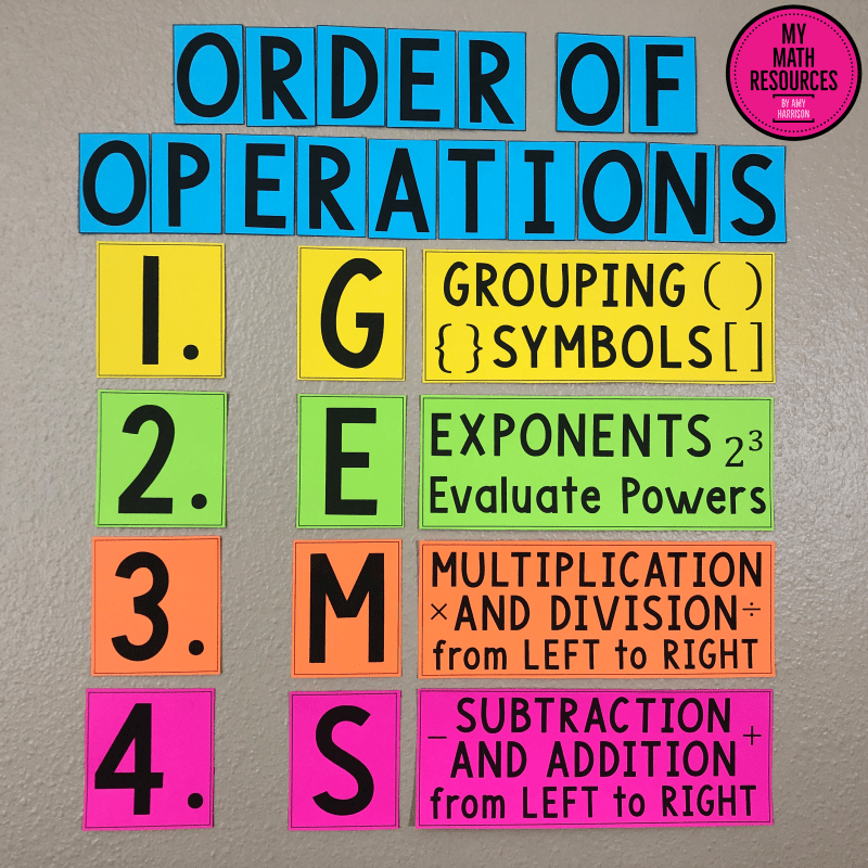 This GEMS Order of Operations Bulletin Board & Poster is the perfect decor for any 5th, 6th, 7th, or 8th Grade Math Classroom.  Middle School and Jr. High Math Teachers need these posters!  #mathteacher #math #maths #teacher #algebra #geometry #mathproblems #study #iteachsixth #iteachseventh #iteacheigth #6thgrade #7thgrade #8thgrade #middleschoolmath #teacherspayteachers #teachersfollowteachers #teacherinspiration
