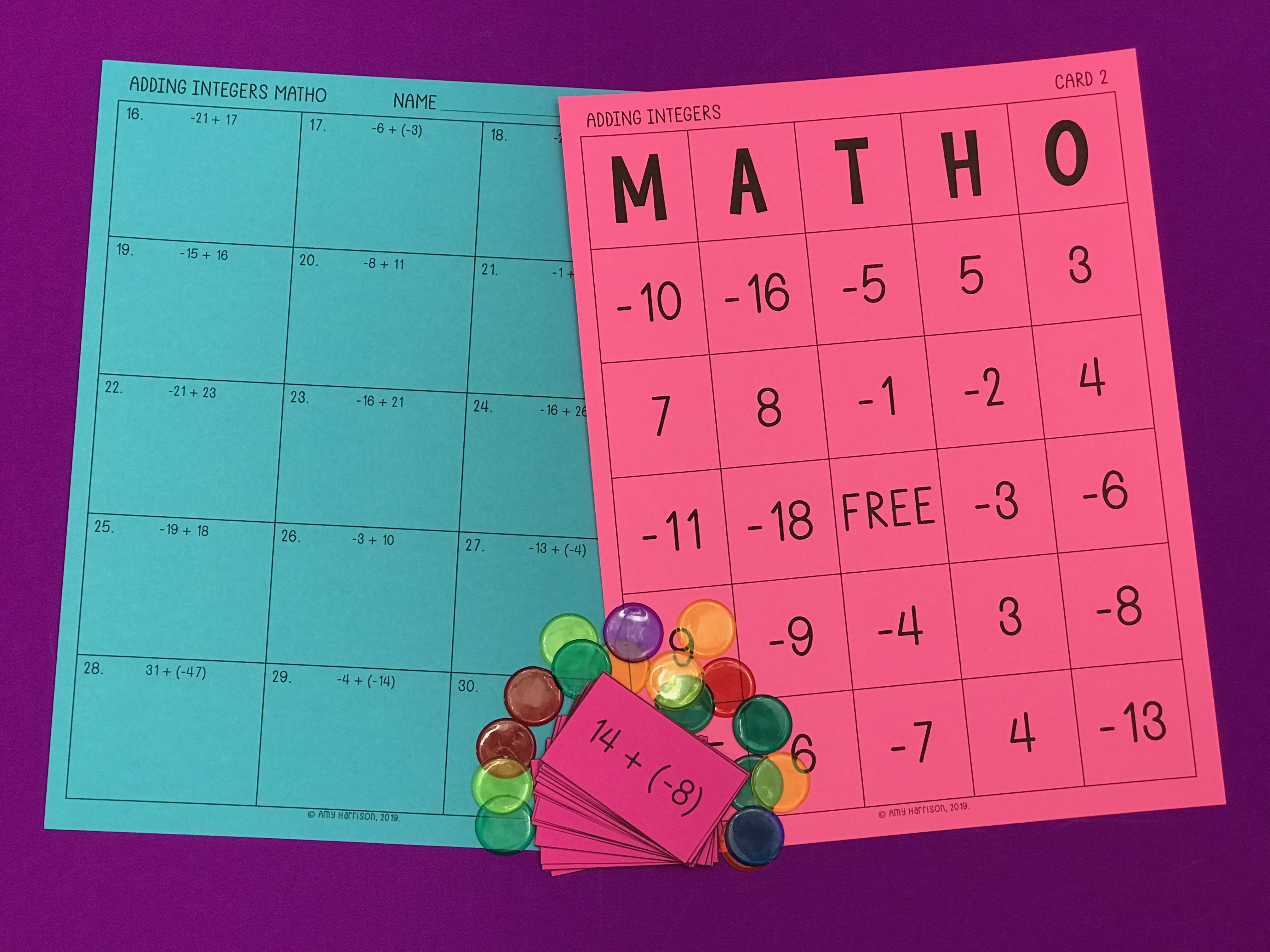 graphic about 7th Grade Math Bingo Printable called My Math Materials - Incorporating Integers MATHO (Bingo Sport)