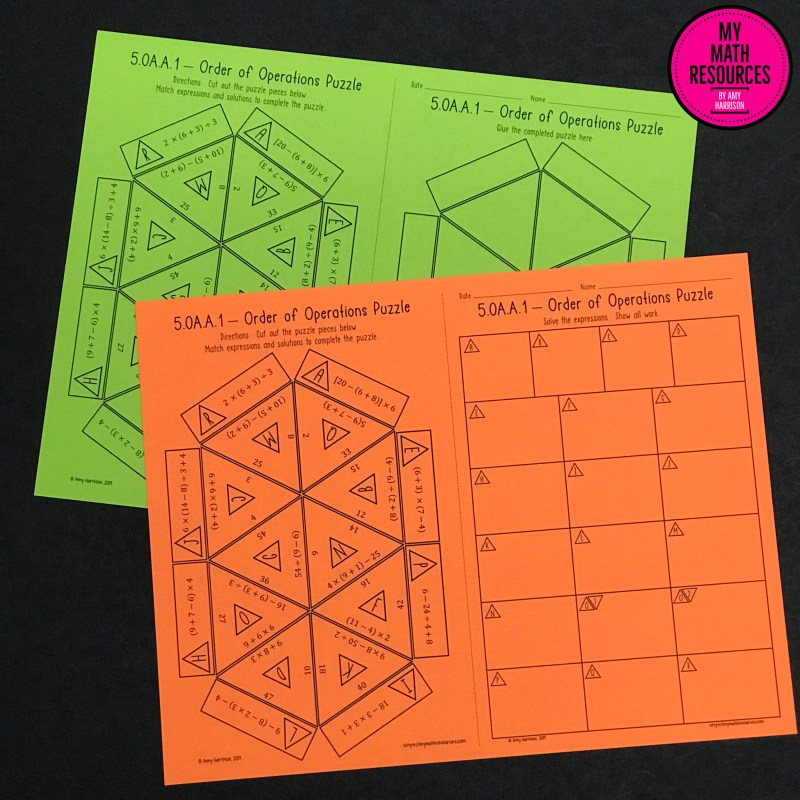 This is a fun and engaging way for your 4th or 5th grade math students to practice the order of operations and common core standard 5.OA.A.1!  Students LOVE puzzles, and you have NO PREP - just print and go!  It comes with an answer key!  Easy!  #mathteacher #math #maths #teacher #algebra #geometry #mathproblems #study #iteachfourth #iteachfifth #iteachsixth #4thgrade #5thgrade #6thgrade #middleschoolmath #teacherspayteachers #teachersfollowteachers #teacherinspiration