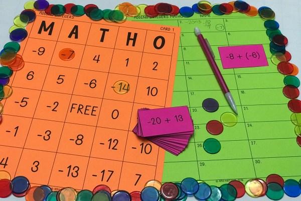 Adding Integers MATHO (Bingo Game)