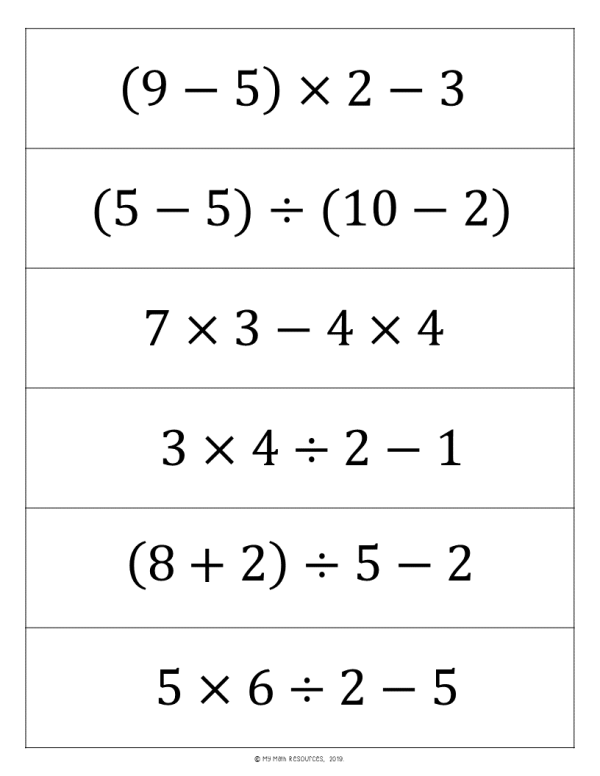 Order of Operations Sort