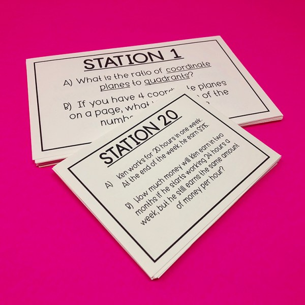 Ratios and Proportional Relationships Task Cards Black and White