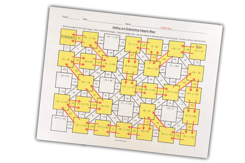 This is a fun way for your 6th, 7th, or 8th grade math class to practice adding and subtracting integers!  Give yourself an easy day with an activity that your middle school math class will love!  #mathteacher #math #maths #teacher #algebra #geometry #mathproblems #study #iteachsixth #iteachseventh #iteacheigth #6thgrade #7thgrade #8thgrade #middleschoolmath #teacherspayteachers #teachersfollowteachers #teacherinspiration