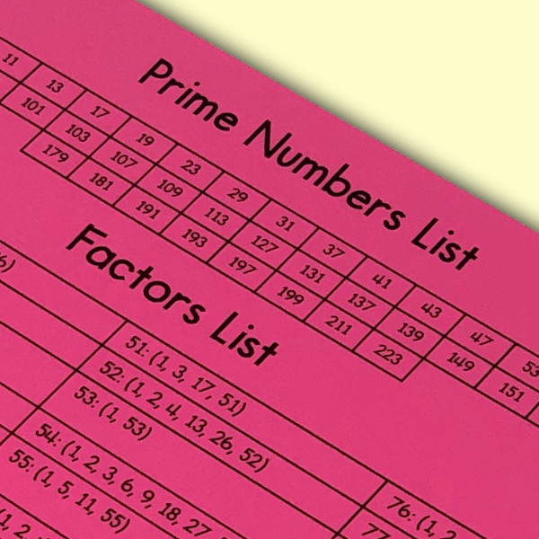This is a reference sheet for all prime numbers from 2-229 and all factors of numbers from 1-100.  This simple reference sheet will be very helpful to your upper elementary or middle school math class!  #mathteacher #math #maths #teacher #algebra #geometry #mathproblems #study #iteachsixth #iteachseventh #iteacheigth #6thgrade #7thgrade #8thgrade #middleschoolmath #teacherspayteachers #teachersfollowteachers #teacherinspiration