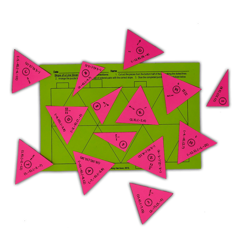 This puzzle is a great way for your 7th, 8th, or 9th grade class to practice slope of a line given two points!  More engaging than a worksheet!  #mathteacher #math #maths #teacher #algebra #geometry #mathproblems #study #iteachsixth #iteachseventh #iteacheigth #6thgrade #7thgrade #8thgrade #middleschoolmath #teacherspayteachers #teachersfollowteachers #teacherinspiration