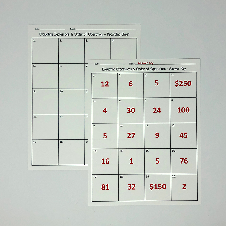 These task cards are perfect for when you are covering evaluating expressions and order of operations in your 5th, 6th, or 7th grade math class!  Use them for math stations, speed dating, warm up, bell ringer, or for early finishers!