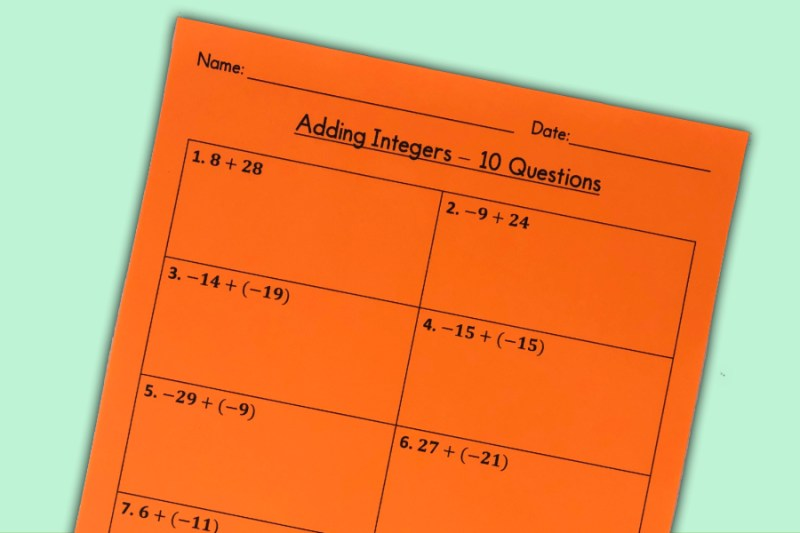 These are three FREE beginner level adding integers worksheets! Each expression has two integers between -30 and 30.  Includes an answer key!  Use these worksheets as classwork or homework!