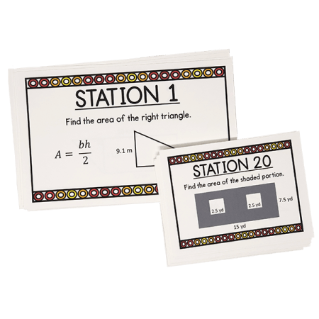 Reviewing area of a polygon has never been more easy with these task cards! They include multiple printing options and an answer key. Give yourself an easy day, and give your class an entertaining way to practice!  Your 6th, 7th, or 8th grade Geometry class will love them!