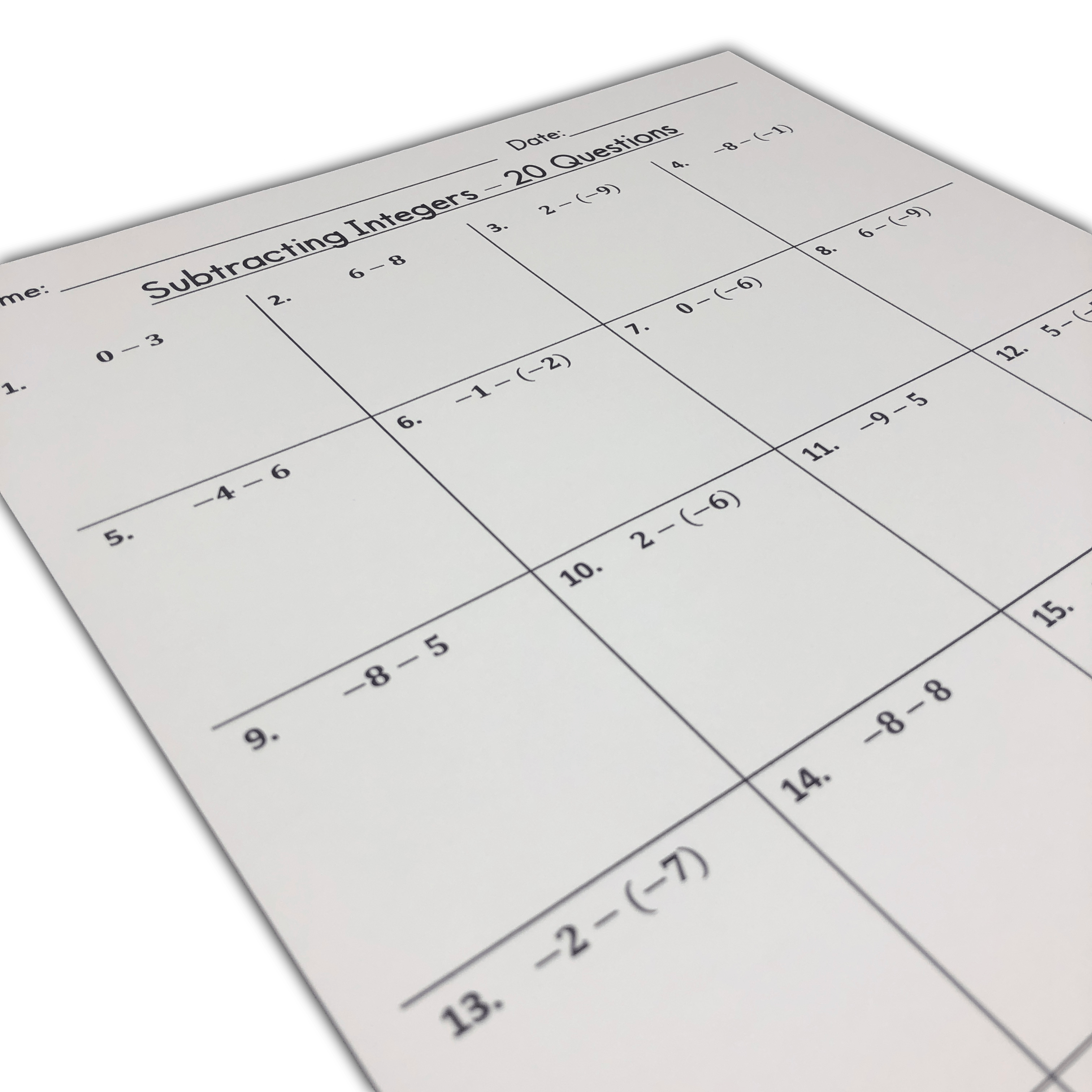 medium resolution of My Math Resources - FREE Beginners Subtracting Integers Worksheets (Integers  from -10 to 10)