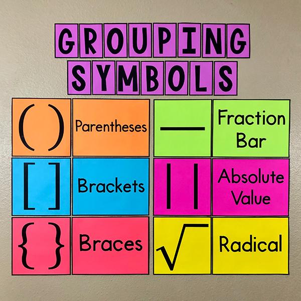Grouping Symbols Poster