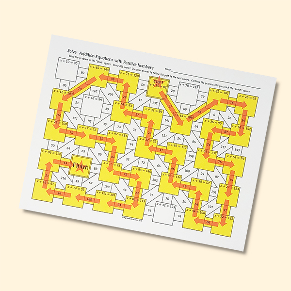Addition Equations Maze