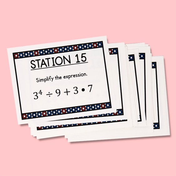 These order of operations task cards are aligned with core standard CCSS 6.EE.A.1 and are a fun way to practice and review.  Your middle school math class will LOVE this activity!