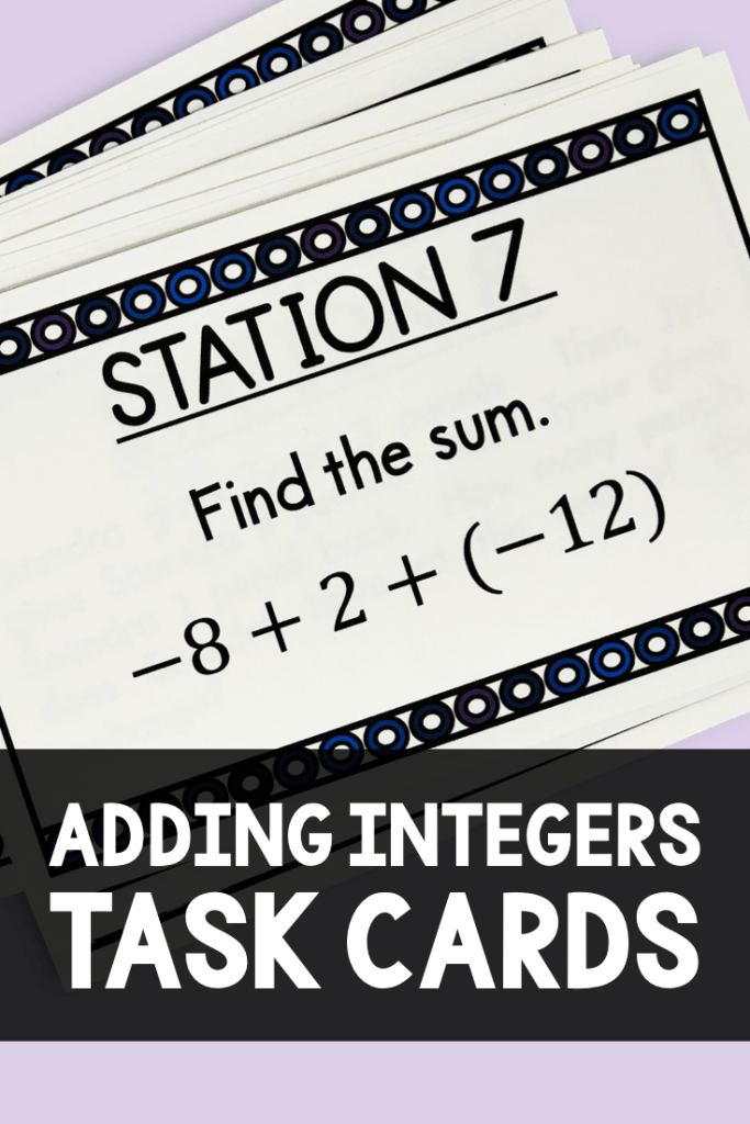 These task cards are a fun and engaging way for your 6th, 7th, or 8th grade math class to practice adding integers!