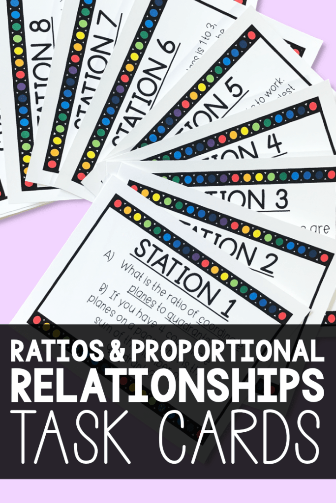 If you're covering Ratios & Proportions for middle school math, this is a MUST HAVE activity!  Task cards are a great way to have an EASY day for you and a FUN day for your class!  Use these to cover core standards 6.RP and 7.RP!