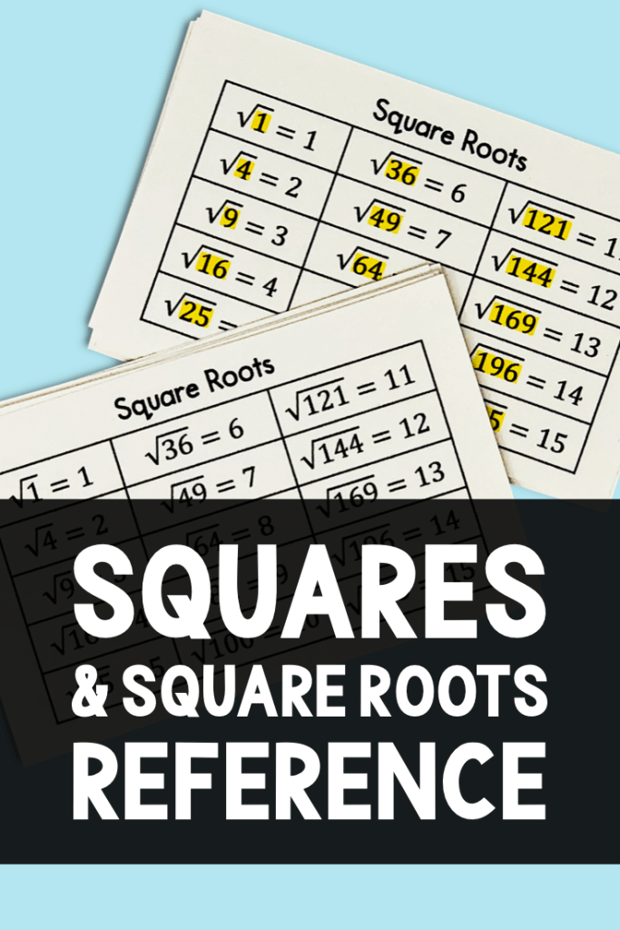 It can be very overwhelming to work with square roots of non-perfect squares.  Use this square roots reference card and perfect squares sheet to help your students as they begin working with squares and square roots.