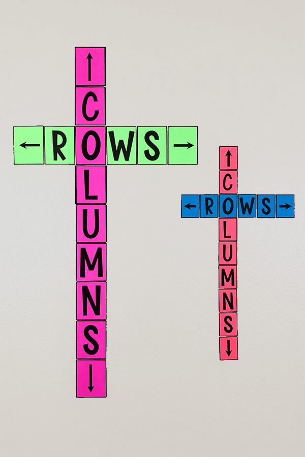 This rows & columns bulletin board poster is a cute addition to ANY classroom!  Free middle school math classroom decor that will help your students learn the difference between rows and columns!