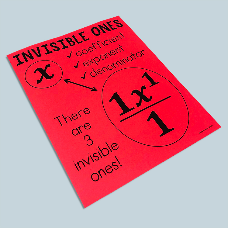 Invisible Math is a must have bulletin board for every middle school math classroom.  Your students will really benefit from having a constant reminder on the wall about their invisible ones!