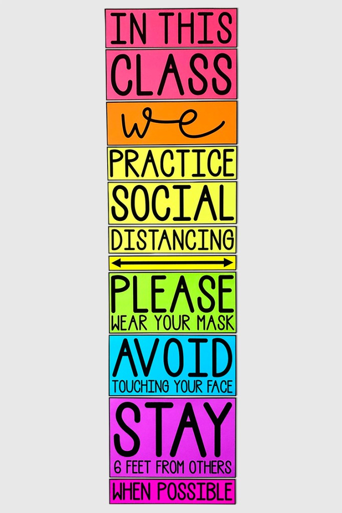 Remind your class about your social distancing rules with this eye-catching poster!