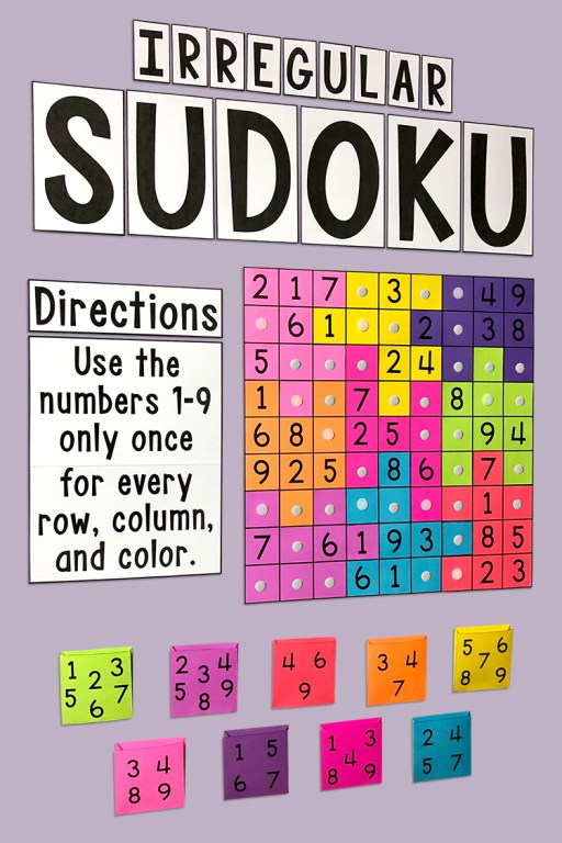 This Sudoku Bulletin Board Set is sure to be a hit with your class!  It contains two different puzzles (Irregular Sudoku and Classic Sudoku) with a hard and easy version of each.