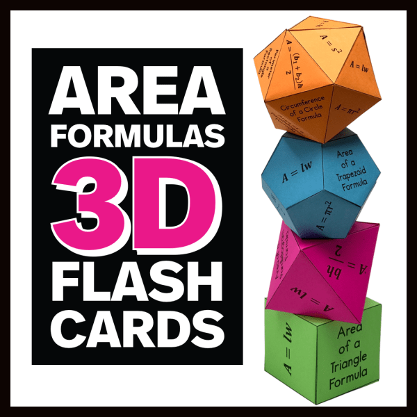 Area Formulas 3D Flash Cards