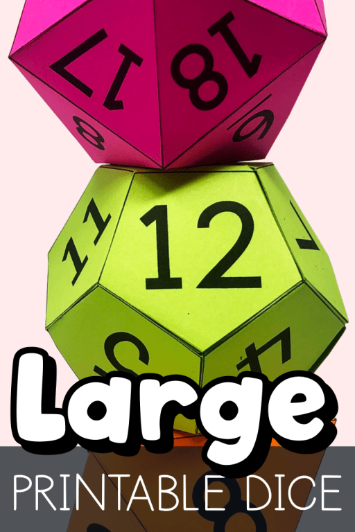 These printable dice templates will allow you to create large 6-sided, 8-sided, 12-sided, or 20-sided dice.  Each template includes a blank and numbered version.