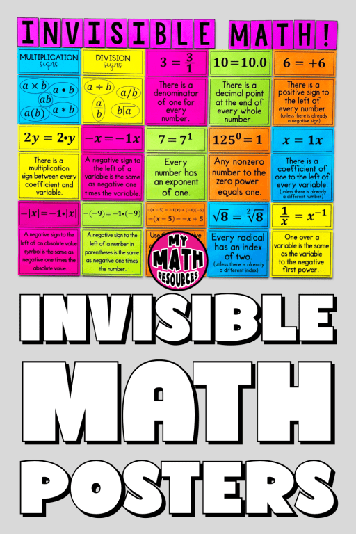 Invisible Math is the best math classroom poster for 6th, 7th, or 8th grade math.  If you are looking for math bulletin board ideas for back to school 2021, you have found what you are looking for!