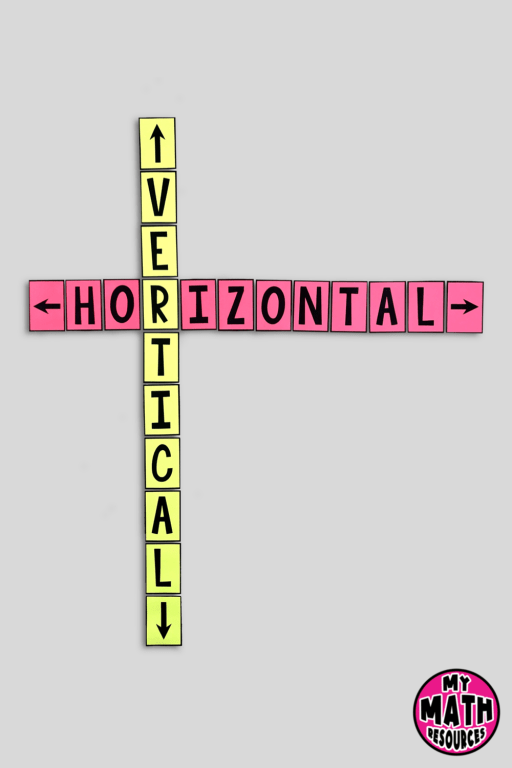 Help your students learn the difference between horizontal and vertical with these handy bulletin board posters.  This math classroom décor will really help your students and will look GREAT on your wall!