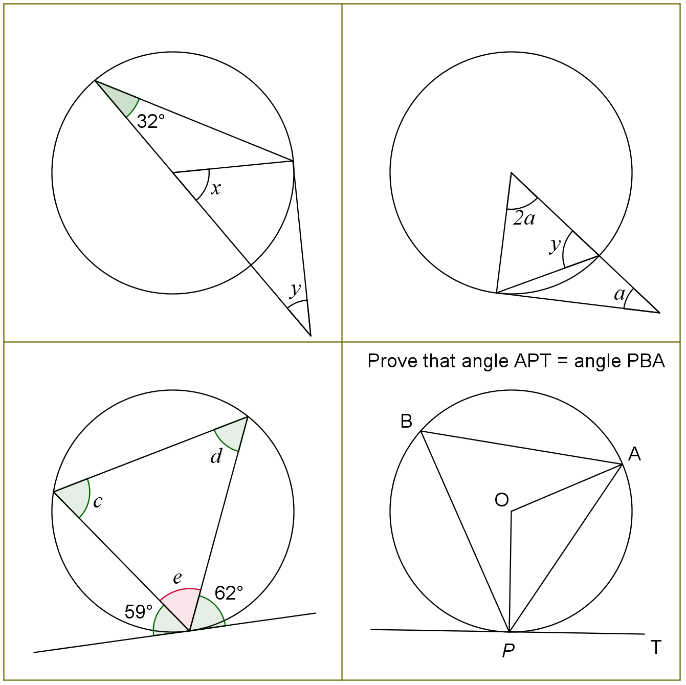 Circle Theorems 2 Questions