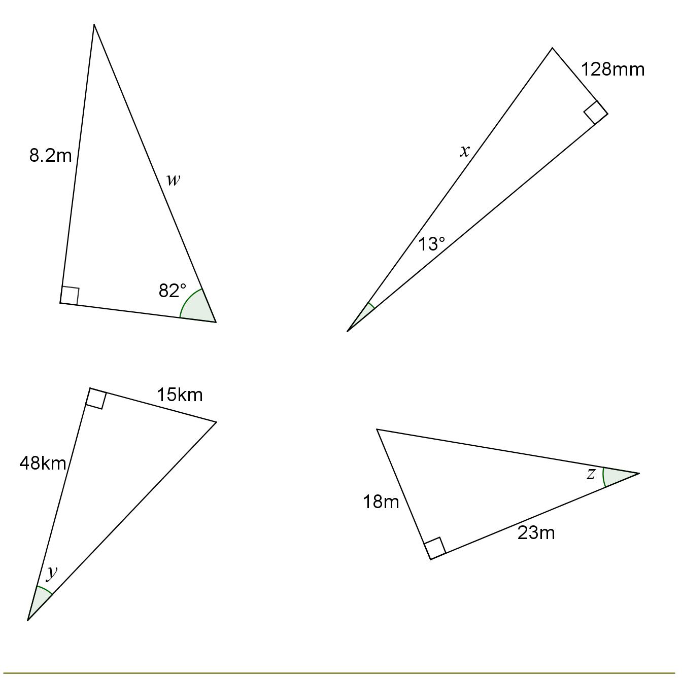 Trigonometry Right Angled Triangles Quesitons