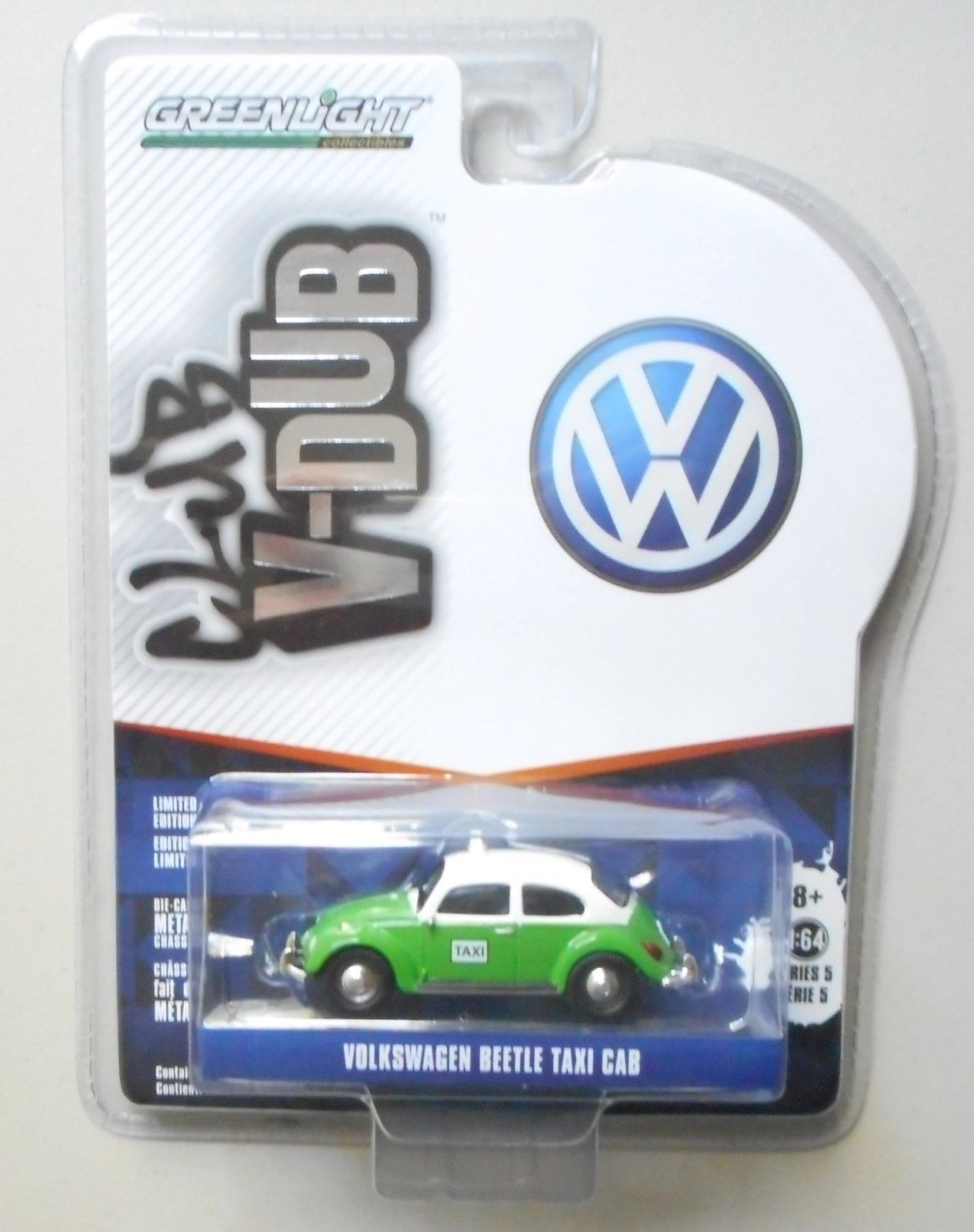 GREEN TAXI BEETLE VW VOLKSWAGEN V-DUB 5 GREENLIGHT DIECAST 1:64