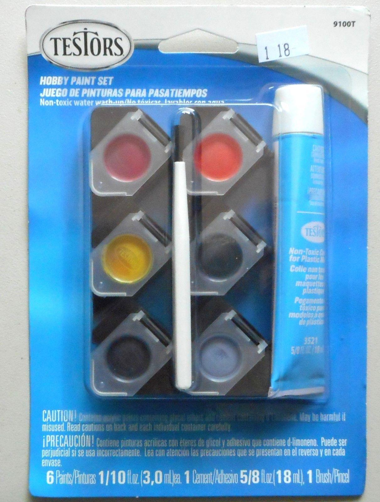 Auto Detailing Acrylic 6 Paint Cement Brush Testors MODELING ACCESSORY Set  9100