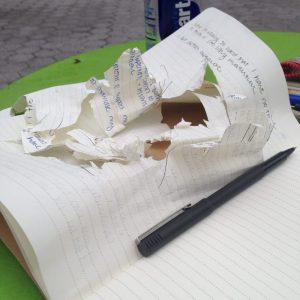 shredded notebook