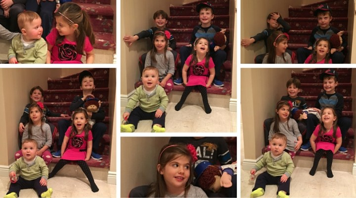 Kids on the stairs Thanksgiving