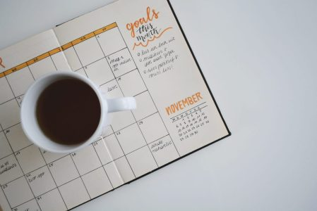 calendar with coffee
