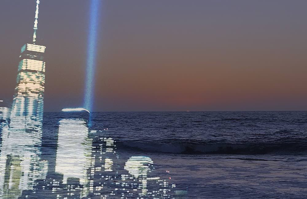 9/11 blue lights and Pacific ocean