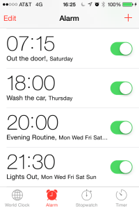 Screenshot of iPhone alarms