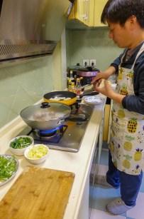 Devon at work in the kitchen.