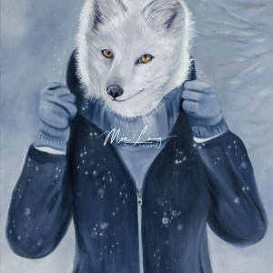 Arctic Fox in winter clothes by Australian artist Mia Laing