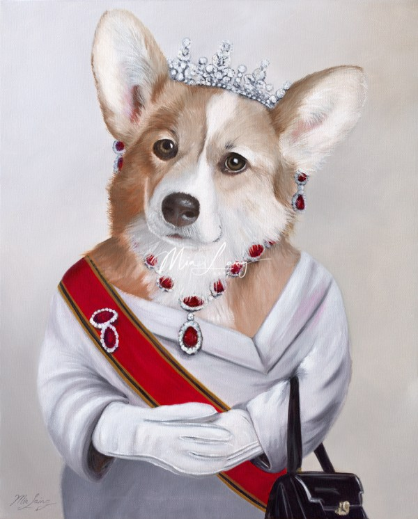 Elizabeth, Queen of the Corgi. Oil painting by Australian artist Mia Laing