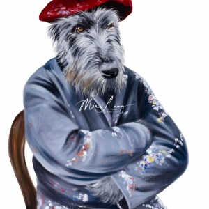 The Wolfhound Thinker, oil on canvas by Australian artist Mia Laing
