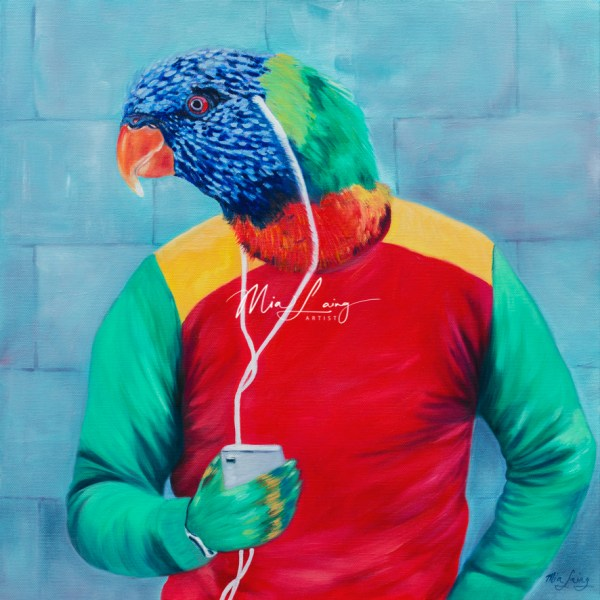 Rainbow Lorikeet listening to music by mia laing