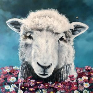Originaloilpainting.mialaing.sheep.flowers