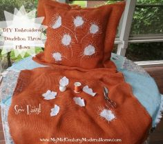 Embroidered Dandelion Pillows DIY