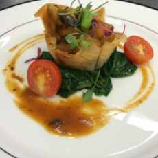 Braised mushrooms in a phyllo cup