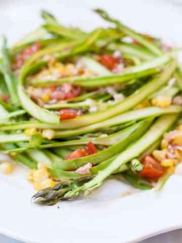 New Asparagus Ribbon Salad with Crumbled Pancetta and Parmesan