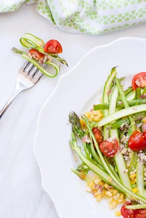 Asparagus Ribbon Salad with Crumbled Pancetta and Parmesan