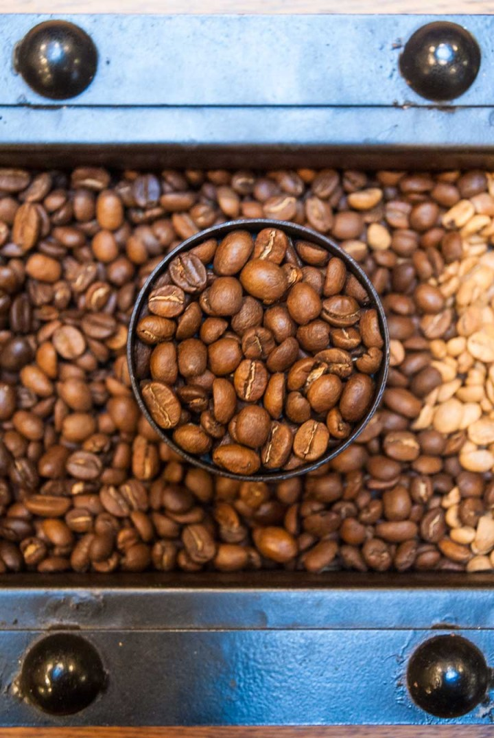 Overhead shot of lightly roasted coffee beans.