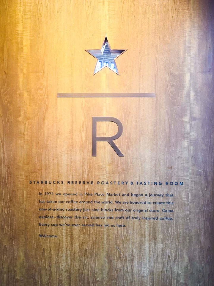 Wood wall to the Starbucks Reserve Roastery and Tasting room