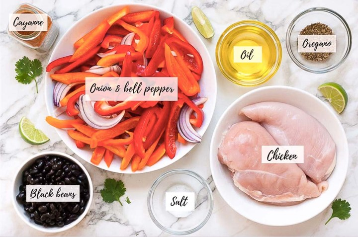 Overhead images of all the ingredients in this recipe in circular bowls with a white background.
