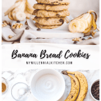 Two images, the top of a vertical stack of cookies with sliced bananas spread around and the lower image is an overhead shot of the ingredients needed for the recipe with the recipe title inserted in the middle.